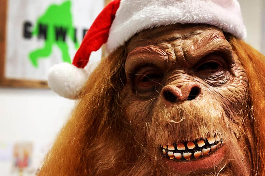 Sasquatch in a Santa Hat